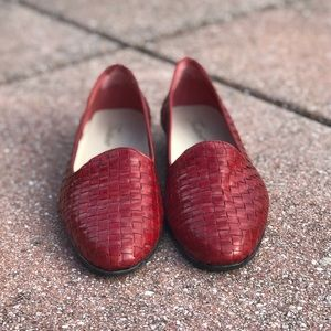 Red Woven Leather Flats